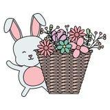 Nett wenig Kaninchen mit Korbstroh und -blumen lizenzfreie abbildung