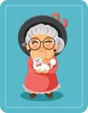 Nette ältere Dame mit ihrer Cat Pet Vector Illustration Lizenzfreie Stockfotografie