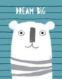 Nette abstrakte Hand gezeichneter weißer Teddy Bear Vector Illustration Schmutz-infantiles Art-Design lizenzfreie abbildung