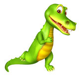 Nette Alligatorzeichentrickfilm-figur mit dem Laufen Lizenzfreies Stockbild