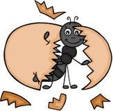 Nette Ameise mit dem Ei gebrochen vektor abbildung