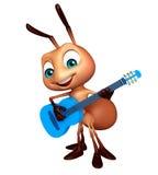 nette Ameisenzeichentrickfilm-figur mit Gitarre Stockfotografie