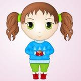 Nette Anime chibi tragende Strickjacke kleinen Mädchens und halten Schale warmer Tee Einfache Karikaturart Auch im corel abgehobe Stockfotos