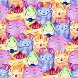 Nette Aquarell Monster Lizenzfreies Stockfoto