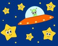 Nette ausländische Karikatur UFO mit Bonbon spielt Illustration für Kinder die Hauptrolle Stockbild