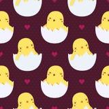 Nette Babyhühner im nahtlosen Muster der Eier Lizenzfreie Stockfotografie