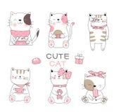 Nette Babykatzenkarikatur-Handgezogene Art, für den Druck, Karte, T-Shirt, Fahne, Produkt Vektor stock abbildung