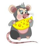 Nette Babymaus, die Käse isst Lizenzfreie Stockbilder