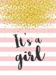 Nette Babyparty-Vektor-Illustration Dunkles Grey Letters Es `S Rosa Streifen mit goldenen Konfettis auf weißem Hintergrund stock abbildung