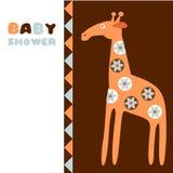 Nette Babypartygeburtstags-Einladungskarte mit Giraffe, Illustration Stockfoto