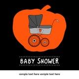 Nette Babypartygeburtstags-Einladungskarte mit Kinderwagen und Kürbis, Illustration Stockfoto