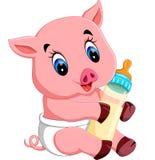 Nette Babyschweinkarikatur stock abbildung