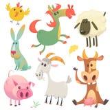 Nette Bauernhofbabytiere stellten Sammlung ein Vector Illustration der Kuh, des Pferds, des Huhns, des Häschens, des Schweins, de stock abbildung