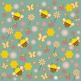 Nette Biene der Illustrationen mit Blumen Lizenzfreies Stockfoto