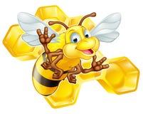 Nette Biene der Karikatur mit Bienenwabe Stockfoto