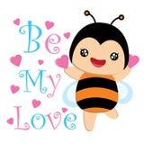 Nette Biene und blaue rosa Herzkarikatur passend für Kinderpostkarte Lizenzfreie Stockbilder