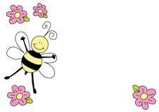 Nette Biene und Blumen stockfoto