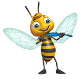 nette Bienenzeichentrickfilm-figur mit Gitarre Lizenzfreies Stockfoto