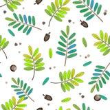 Nette Blätter Hintergrund, Wasserfarbart der nahtlosen Muster Stockbilder