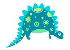 Nette blaues Baby-Dinosaurier-Zeichentrickfilm-Figur-Vektor-Illustration stockbild