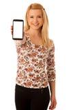 Nette blonde Frau mit dem Tablet-Computer lokalisiert über weißem backgr Lizenzfreie Stockfotografie