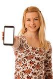 Nette blonde Frau mit dem Tablet-Computer lokalisiert über weißem backgr Stockbilder
