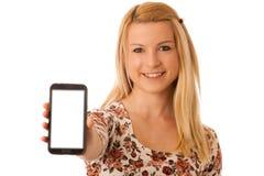 Nette blonde Frau mit dem Tablet-Computer lokalisiert über weißem backgr Stockfotos