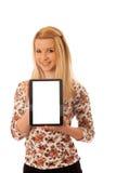 Nette blonde Frau mit dem Tablet-Computer lokalisiert über weißem backgr Stockbild