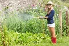 Nette blonde Gartenarbeit am sonnigen Tag Stockfoto