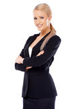 Nette blonde Geschäftsfrau auf Weiß Stockbild