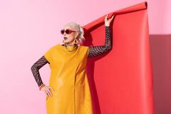 Nette blonde weibliche Stellung lokalisiert auf Rosa lizenzfreie stockbilder