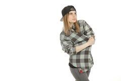 Nette Blondine im Hemd Stockfotografie