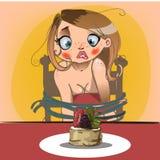 Nette Blondine mit Kuchen Stockfotos