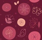 Nette Blume, Vogel und Schmetterling des nahtlosen Musters auf Kreisen in der roten Palette Stockbild