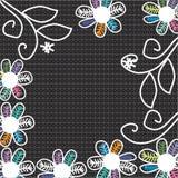 Nette Blumen auf einem schwarzen Hintergrund, Handzeichnung  Lizenzfreie Stockfotos