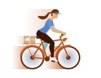 Nette Briefträgermädchen-Lieferungspost oder Paket, E-Mail Stockbild