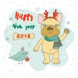 Nette Bulldogge in der Karikaturart Stockfoto