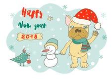 Nette Bulldogge in der Karikaturart Lizenzfreies Stockfoto