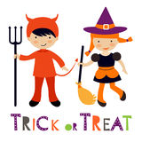 Nette bunte Halloween-Kinder eingestellt Lizenzfreie Stockfotos