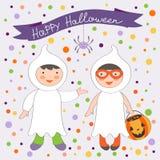 Nette bunte Halloween-Kinder eingestellt Stockbilder