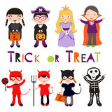 Nette bunte Halloween-Kinder eingestellt Lizenzfreie Stockfotografie