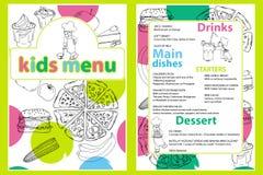 Nette bunte Kindermahlzeit-Menüschablone mit lustigem Karikaturküchenjungen Verschiedene Arten von Tellern auf einem Hand gezeich lizenzfreie abbildung