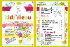 Nette bunte Kindermahlzeit-Menüschablone mit lustigem Karikaturküchenjungen Verschiedene Arten von Tellern auf einem Hand gezeich vektor abbildung