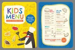Nette bunte Kindermahlzeitmenü-Vektorschablone mit Pinguinkarikatur Stockbilder