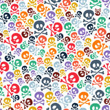Nette bunte Totenköpfe mit gekreuzter Knochen nahtlos Stockbilder