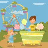 Nette bying Zuckerwatte des kleinen Mädchens vom Straßenlebensmittelwarenkorb vor Riesenrad herein Vergnügungspark-Vektor Illustr lizenzfreie abbildung