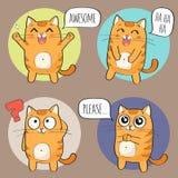 Nette Cat Character mit verschiedenen Gefühlen Stockfoto