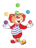 Nette Cat Clown Juggler Cartoon Stockbilder