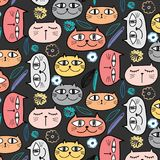 Nette Cat And Floral Pattern Background vektor abbildung