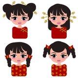 Nette chinesse Mädchenkarikatur stockfotos